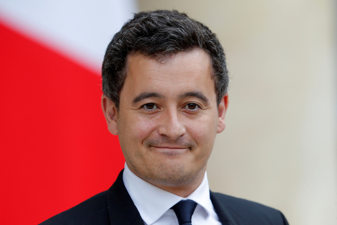 Newly appointed French Minister for Public Accounts, Gerald Darmanin, arrives to attend the first cabinet meeting at the Elysee Palace in Paris
